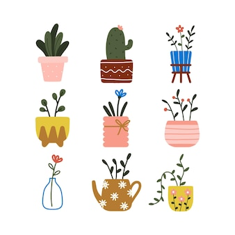 Trendy home decor elements with hygge house indoor potted plants leaves and flowers pot cute draw doodle illustration.