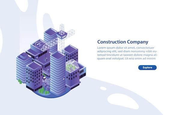 Модный горизонтальный шаблон веб-баннера с современными зданиями или небоскребами, краном и местом для текста. продвижение или реклама услуг строительной компании. красочные современные векторные иллюстрации.