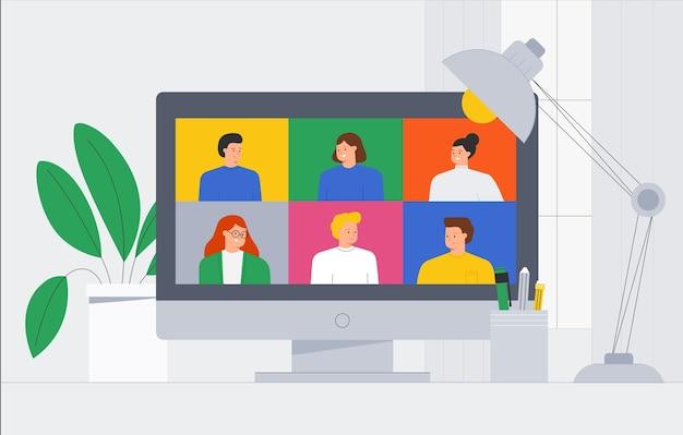 トレンディなイラストのオンラインビデオ会議通話の人々の友人のグループ。人のビデオ通話とメッセージングの話、相談、セミナー、オンライントレーニングのコンセプト。
