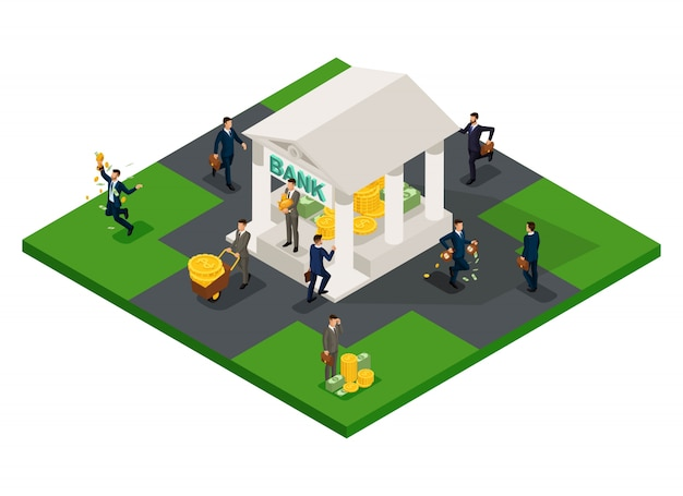 Trendy isometric objects, bank with big pile of cash, gold, bills, coins, profit, deposit, business development loan isolated