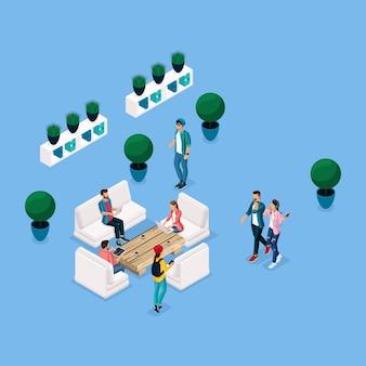 Модный изометрические люди и гаджеты коворкинг центр, релаксация и обсуждение, стильный интерьер, мозговой штурм, встречи, работа фрилансеров изолированы на синем фоне