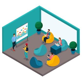 Модные изометрические люди и гаджеты, комната коворкинг-центра, кабинет для обучения и дискуссий, мягкая красла груша, рабочая