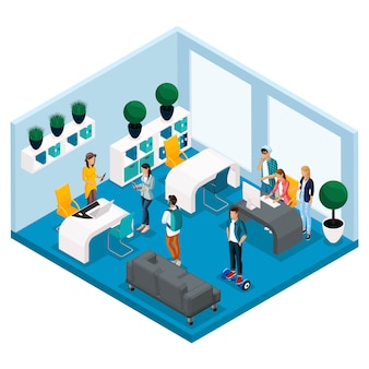 Модные изометрические люди и гаджеты, комната коворкинг-центра, комната для творческой работы и игр, стильный интерьер, ноутбук, рабочий