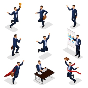 Trendy isometric people, businessmen, business concept, success, getting cup, reaching goal, young businessman is isolated