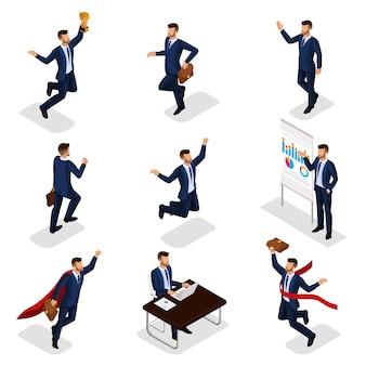 트렌디 한 아이소 메트릭 사람들, 기업인, 사업 개념, 성공, 컵을 받고, 목표에 도달, 젊은 사업가 격리