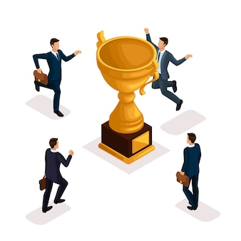 Trendy isometric people, businessmen, movement running, fast step, rush prize cup, get trophy, young entrepreneurs with briefcase isolated