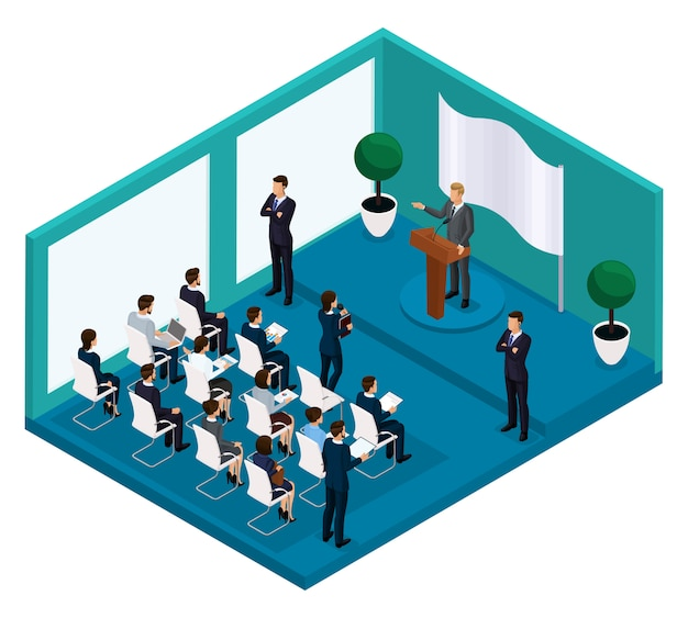 Trendy isometric people businessmen