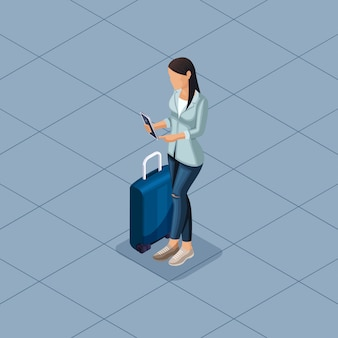 Trendy isometric people and gadgets illustration
