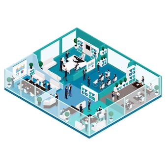Trendy isometric people, office work illustration of a front view of business concept with a glass facade, office furniture, workflow, office workers