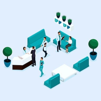 Trendy isometric people, reception, doctor discussion with the patient, surgeon, medical staff, nurse, receiving patients
