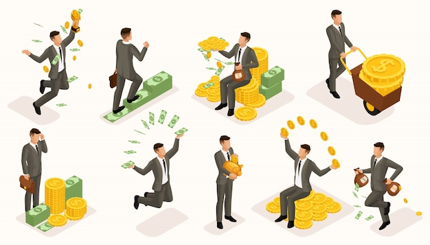 Trendy isometric people vector, 3d businessmen money attachments, business scene with young businessman, investment, lots of cash, businessman bathes in money
