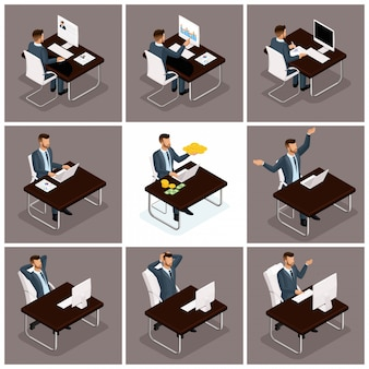 Trendy isometric people vector, businessmen office work, business scene related to young businessman, concept of a working businessman at a table