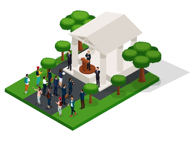 Trendy isometric people