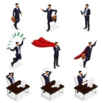 トレンディな等尺性ベクター人、ジャンプ、実行、アイデア、喜び、お金を投げるビジネスマン、ビジネスシーン、青年実業家
