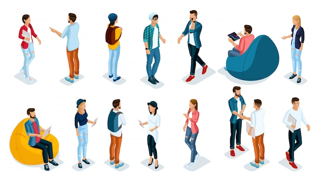 Trendy isometric young people