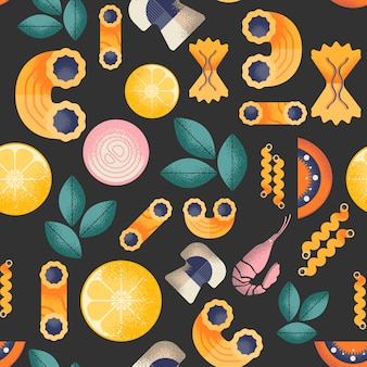 Trendy italian food seamless pattern
