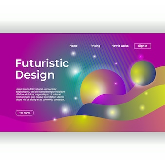 Trendy landing page with modern design and glow gradient
