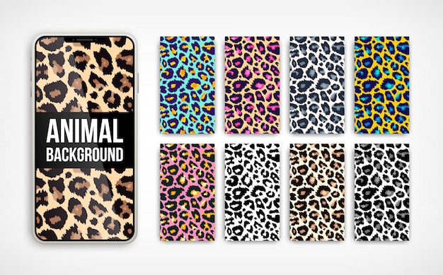 Trendy leopard abstract vertical background set. hand drawn fashionable wild animal color texture on smartphone screen collection for social media banner, cover, phone wallpaper. illustration
