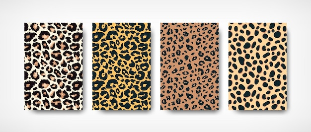 Trendy leopard skin pattern backgrounds set. hand drawn wild animal spots abstract texture
