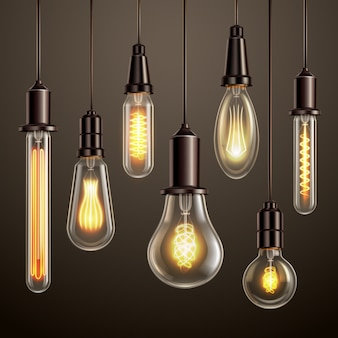 Trendy lighting design with retro style vintage looking soft glowing filament edison ligt bulbs variety