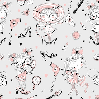 Trendy little cute girls who want to look like adults. fashionistas with women's accessories. seamless pattern.