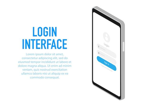 ログインウィンドウを備えたトレンディなログインインターフェイスアプリケーション。
