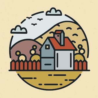 농가 또는 목장 집과 경작지로 덮인 언덕이 있는 트렌디한 로고. 밝은 배경에 분리된 시골 풍경이 있는 원형 로고. 선형 스타일의 다채로운 벡터 일러스트입니다.