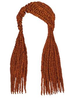 Модные длинные волосы косички красного цвета.