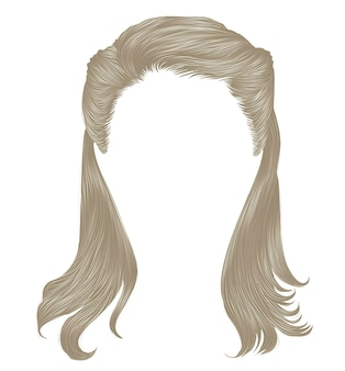 Trendy long hairs blond colors.  realistic 3d.retro