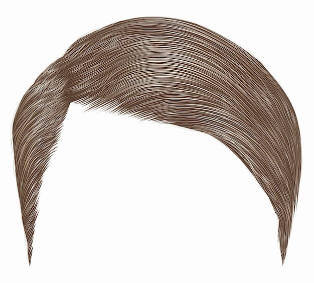Модные мужские волосы. коричневый, светлый цвет. стиль красоты. реалистичные 3d.
