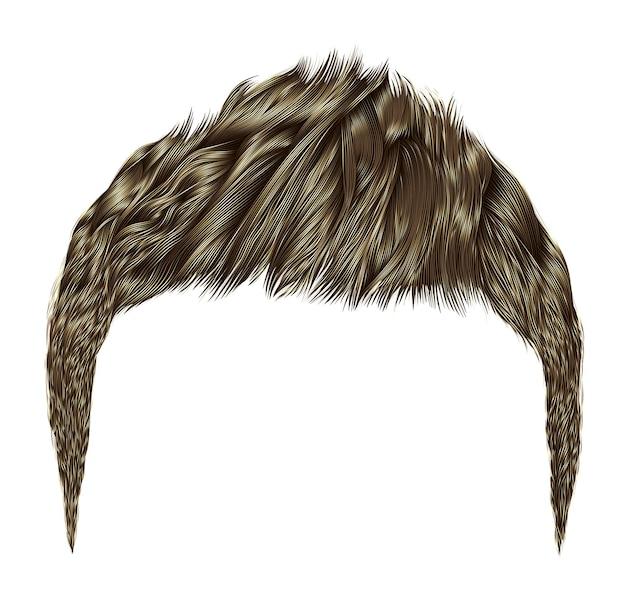 Модные мужские волосы. коричневый блонд цвет. стиль красоты. реалистичный 3d.