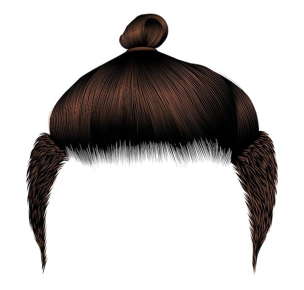 Модные мужские волосы. булочка коричневого цвета брюнетки. стиль красоты. реалистичный 3d.