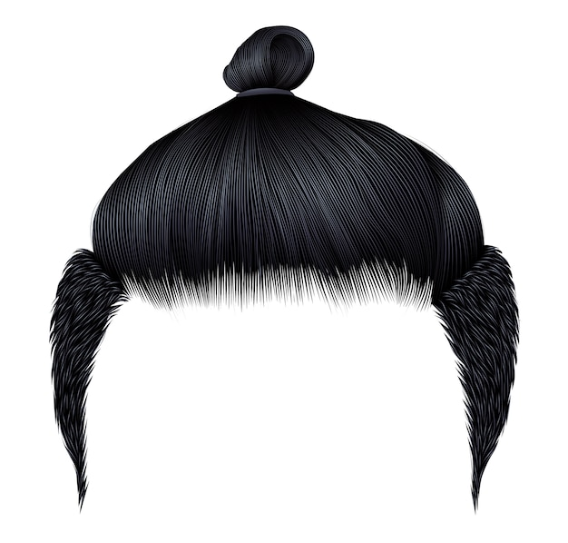 Trendy man hairs. bun brunette black color. beauty style. realis