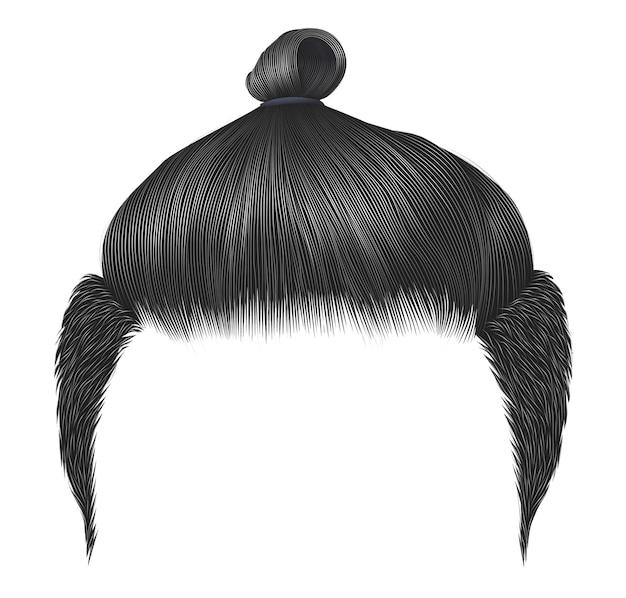 Модные мужские волосы. булочка серого цвета. модный стильный мужской цвет волос. высокая укладка. реалистичный 3d.
