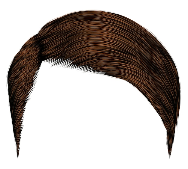 Trendy man hairs.dark brown brunette.fashion beauty style. realistic  graphic