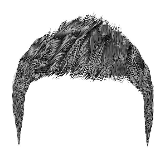 Модные мужские волосы. серый цвет. стиль красоты. реалистичные 3d.