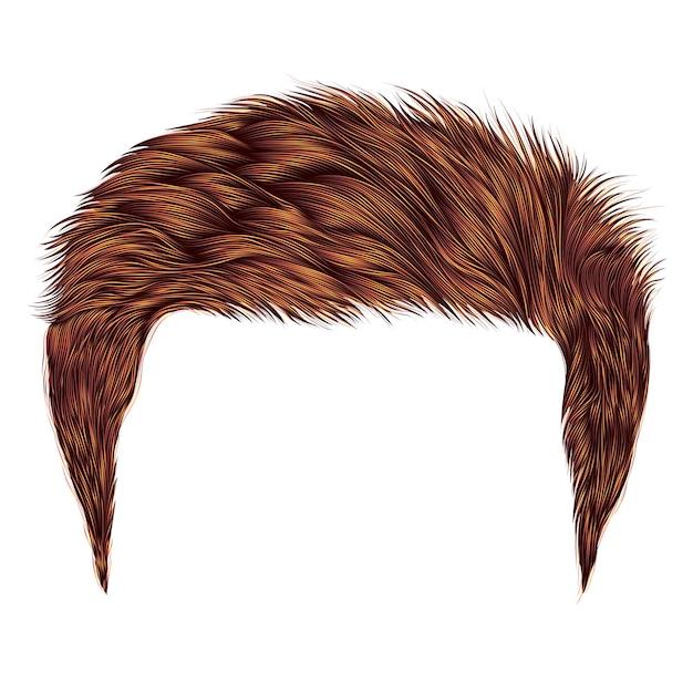 Модные мужские волосы. красный цвет. стиль красоты. реалистичные 3d.