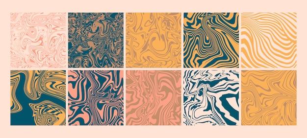 トレンディな大理石のシームレスパターン要素セット