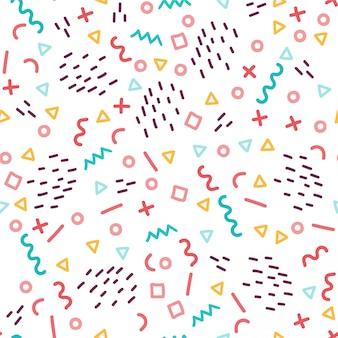 トレンディなメンフィススタイルのシームレスなパターン。 80年代から90年代スタイルのカラフルな幾何学的なシームレスパターン