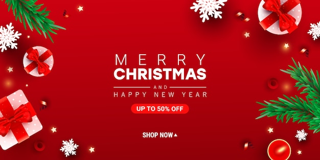 Trendy merry christmas and happy new year  illustration with decor gift box, snow
