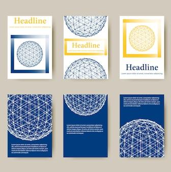 トレンディなメッシュポリゴンデザインスタイルのレターヘッドとパンフレット抽象的なラインポリゴンデザイン