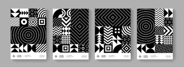 Trendy minimal geometric pattern vector design. modern posters set with shape elements. black and white hipster background.