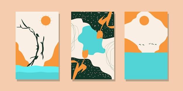 트렌디한 미니멀리스트 추상 풍경 삽화. 손으로 그린 현대 예술 포스터 세트.