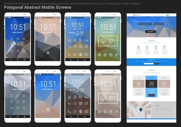 スマートフォンとレスポンシブウェブサイトのランディングページテンプレートを備えたトレンディなモバイル抽象多角形幾何学パック