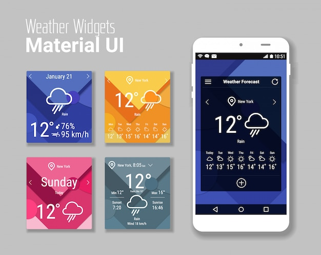 Trendy mobile app weather widgets ui kit, on trendy material background, with smartphone  and bold line icons