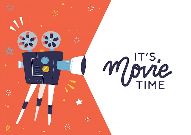 フィルムプロジェクターとテキストエリアを備えたトレンディな映画の時間のコンセプトレイアウト-引用のないテキストエリア-映画の時間です。フィルムリール付きの詳細なレトロなプロジェクターとクールな映画ポスター、チラシ、またはバナーのテンプレート。