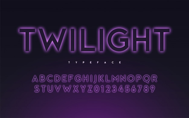 Trendy neon light or eclipse style glowing font design, a