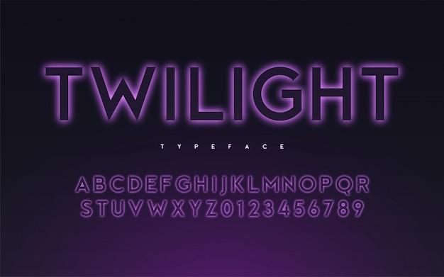 Модный неоновый свет или светящийся шрифт в стиле затмения,