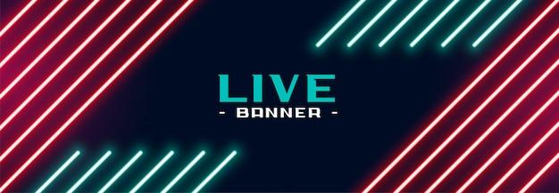 Trendy neon lights banner