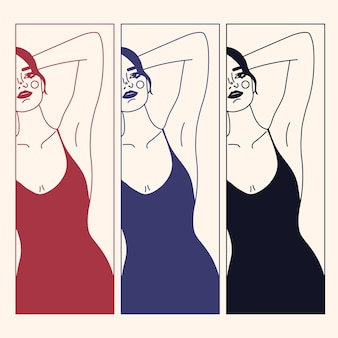 Trendy outline woman figure and face. abstract elegant poster / tattoo/ print with female shape in a linear style. modern dress, underwear concept. minimal woman portrait. fashion print line art.